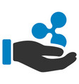 hand offer ripple flat icon vector image vector image