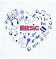 Heart shape made of music elements vector image vector image
