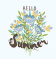 hello summer hand drawn post card template vector image vector image