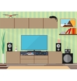 Living room with furniture and long shadows Flat vector image