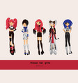lovely visual kei girls different hairstyles vector image vector image