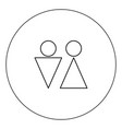 man and woman icon black color in circle isolated vector image vector image