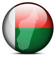 Map on flag button of Madagascar vector image vector image