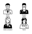Medical staff icons Doctor nurse surgeon and vector image vector image