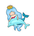 mermaid with wavy long blue hair and dolphin vector image