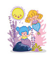 mermaid women with branches leaves and seaweed vector image vector image