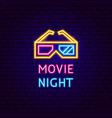 movie night neon label vector image vector image