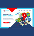 navigation methods tools signs 3d landing web page vector image