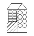 outline cute apartment with windows and roof vector image