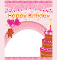 pink birthday card with cute teddy bear and cake
