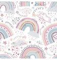 rainbow seamless pattern cartoon rainbows with vector image