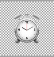 realistic classic silver alarm clock isolated vector image vector image