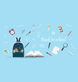 school bag with education objects on blue vector image