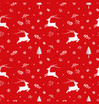 seamless pattern with deers and snowflakes on red vector image vector image