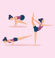 set of girls doing yoga design vector image