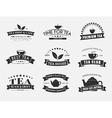 set tea logos with ribbons vector image vector image