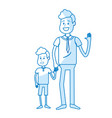 silhouette happy man with his son holding hand vector image vector image