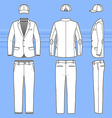 Simple outline drawing of a blazer pants and cap vector image