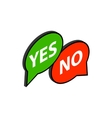 Speech bubble yes no icon isometric 3d style vector image vector image