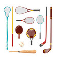 sport racquets sticks cue and bat icon vector image