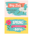 springtime label with flowers web offer vector image vector image