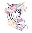 Sugar Skull Girl in Flower Crown4 vector image vector image