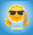 sun in sunglasses with thermometer in hand vector image