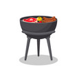 tripod barbecue grill with food isolated icon vector image