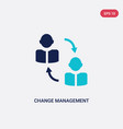 two color change management icon from human vector image