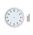 white clock face with hour minute second hands vector image