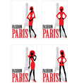 Card with silhouette of woman and Eiffel tower vector image
