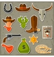 Wild west cowboy objects and stickers set vector image