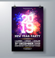 2019 new year party celebration poster vector image vector image