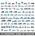 93 Transport icons set blue and gray vector image vector image