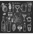 Alcohol and drinks cocktails menu on black board vector image vector image
