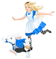 alice chasing after rabbit vector image vector image