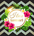 banner with tropical flowers vector image vector image