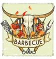BBQ Grill label design - with vector image vector image