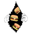 big tasty burger and hands vector image vector image