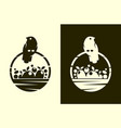 bird with full harvest basket cut out icon vector image vector image