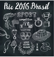 BrasilRio 2016Sport doodlesWinner set vector image vector image
