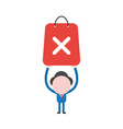 businessman character holding up red shopping bag vector image vector image