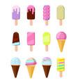 cartoon ice cream in wafer cone set vector image
