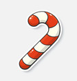 cartoon sticker with candy cane in comic style vector image
