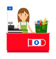 cashier lady at her workplace vector image vector image