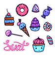 colorful set of cute kawai sweets and confection vector image