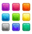 Colorful square glossy buttons set vector image