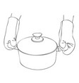 cooking hand with pan vector image vector image