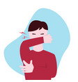 coughing guy with eyes closed flat vector image