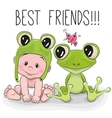 Cute cartoon baby and frog vector image vector image